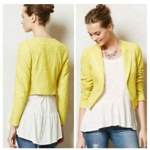 Anthropologie Elevenses Yellow Lace Cropped Blazer